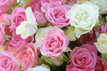 Beautiful bouquet of white and pink roses