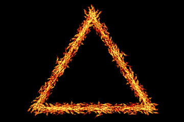 triangle fire frame isolated on black