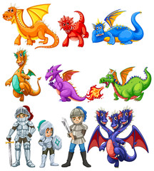 Many dragons and knights on white background