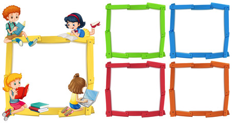 Frame template with happpy children reading books