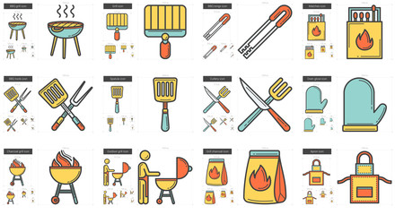 Barbecue line icon set.