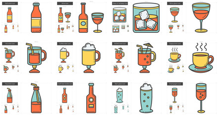 Drinks line icon set.