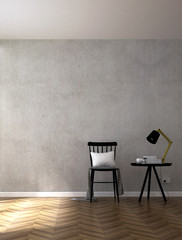 The 3d rendering interior design of black chair living room and concrete wall background