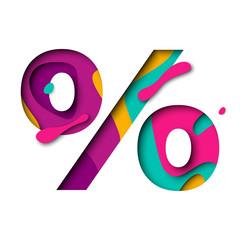 Paper cut Percent symbol percentage sign. Realistic 3D multi layers papercut effect
