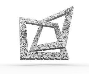 Geometry composition from cracked square frames. Abstract background.