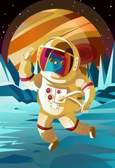 astronaut jumping on europe jupiter satellite surface