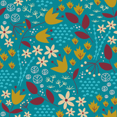 Flower fields seamless pattern.