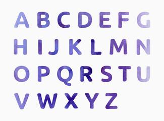 Watercolor alphabet. Color hand drawn letters.