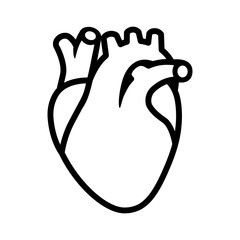 Human heart organ with aorta and arteries line art vector icon for medical health apps and websites