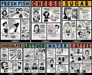 Comics Huge set People and food