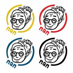 logo portrait old woman with glasses Nan set