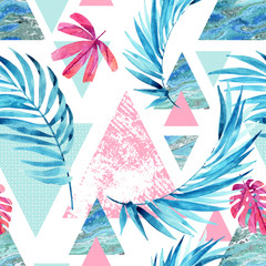 Photo sur Plexiglas Empreintes Graphiques Abstract watercolor triangle and exotic leaves seamless pattern.