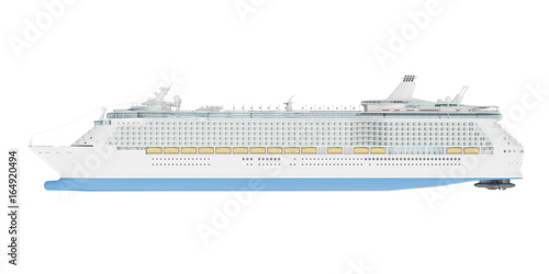 Beautiful Huge Cruise Ship Isolated On White Background D - Huge cruise ship