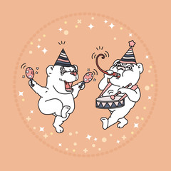 Vector card with two cute bears in party hats.
