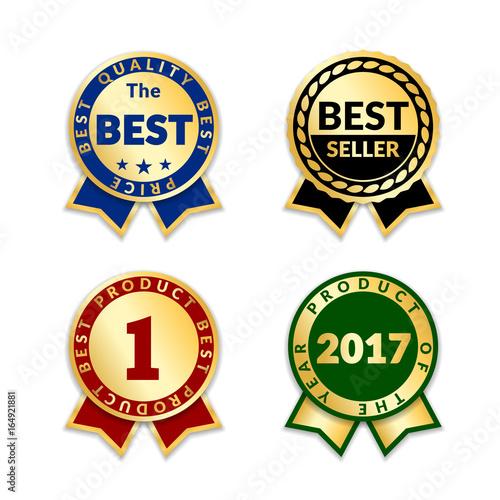 ribbons award best price label set gold ribbon award icon isolated