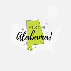 Welcome to Alabama green sign