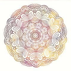 Round ethnic mandala pattern. Vibrant colors.