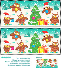 Christmas or New Year visual puzzle: Find the ten differences between the two pictures  - owls trimming the christmas tree. Answer included.