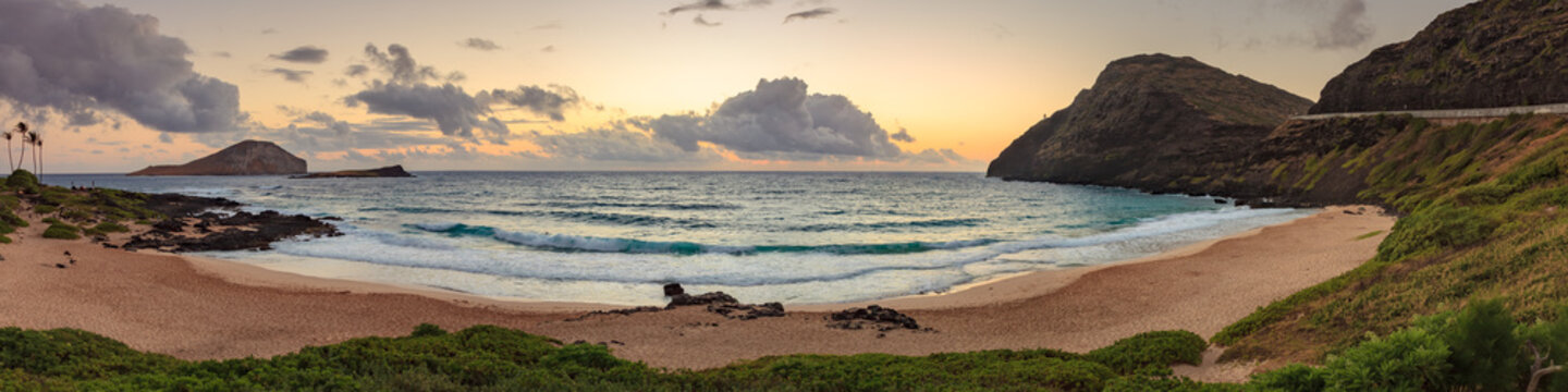 Makapu'u Beach Park Landscape panorama. This is a coastline seascape on Oahu, Hawaii, USA.