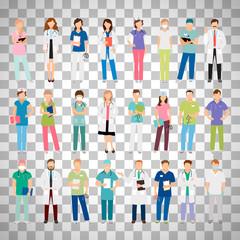 Doctors and nurses on transparent background