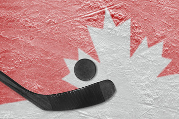 Canadian symbol and hockey stick with washer