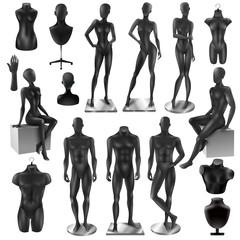 Mannequins Men Women Realisyic Black set