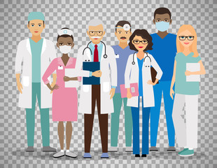 Medical team on transparent background