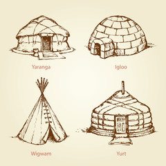 Ethnic homes of different nations. Vector drawing