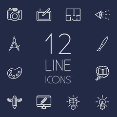 Set Of 12 Constructive Outline Icons Set.Collection Of Knowledge, Vision, Dividers And Other Elements.