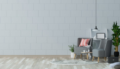 The empty living room with gray armchair in front of white wall  interior design 3D illustration Scandinavian interior design and coffee table in office waiting area.