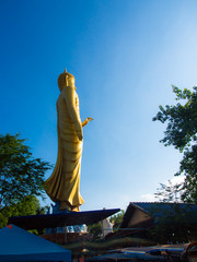 Large golden Buddha in the middle of the market, sunny blue sky.