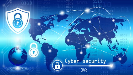 cyber security with lock and password for technology