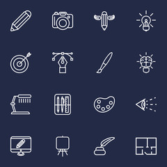 Set Of 16 Creative Outline Icons Set.Collection Of Easel, Property Plan, Dslr Camera And Other Elements.