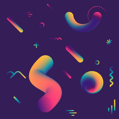 Vector cosmic pattern with geometric fluid shapes on dark background. For trendy posters, banners, card templates.