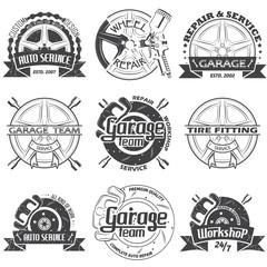 Set of nine garage logo