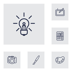 Set Of 6 Creative Outline Icons Set.Collection Of Paintbrush, Palette, Idea And Other Elements.