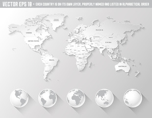 Vector grey shaded world map