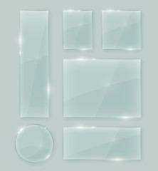 Transparent vector crystal clear glass shapes. Shiny realistic glass texture design elements collection with transparency.