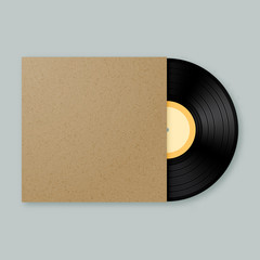 Vector vinyl record mockup template with stylish brown kraft paper blank empty cover with copyspace for your design