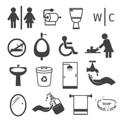 Toilet and Bathroom Icons Set
