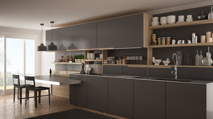 Minimalist modern kitchen with wooden details, table and chairs, gray interior design