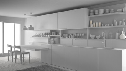 Unfinished project of minimalistic modern kitchen, total white interior design