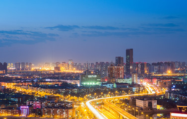 Poster London panoramic view of cityscape,midtown skyline at night,shot in China.