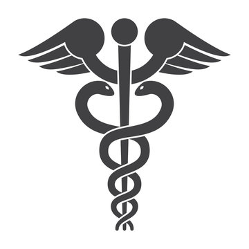 Modern depiction of the caduceus, vector silhouette
