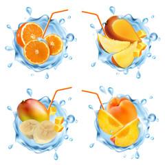 Fruit in a water splash.