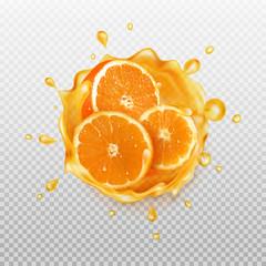 Realistic splash of juice with orange.