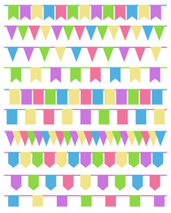 Set of cartoon flag garlands isolated on white background.