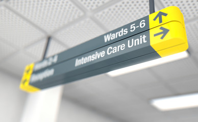 Hospital Directional Sign Intensive Care Unit