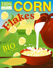 Corn flakes label. Milk pouring from the jug a plate. Background field, sky and sun. Vector