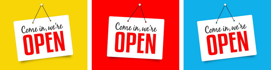 """We're open"" sign"